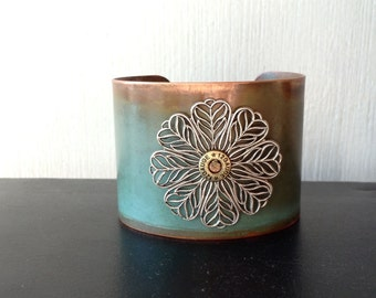 Copper Patina Cuff with Silver FlowerAccent