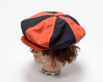 vintage 30s Big Apple cap newsboy hat orange blue stripe Gatsby cap Collegiate Mfg Co Ames Iowa Auburn Tigers