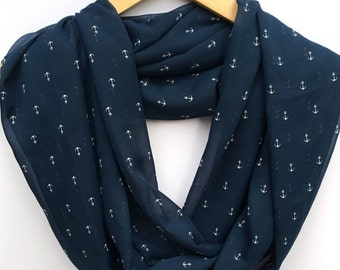 Infinity / Loop Scarf - Navy Blue & White Anchors