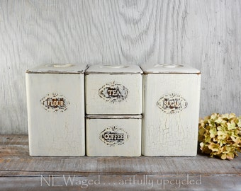 Shabby chic wooden canister set, distressed, stackable canisters, vintage canister set