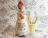 Praying Woman Toothpick Holder Kitchen Prayer Vintage Ceramic
