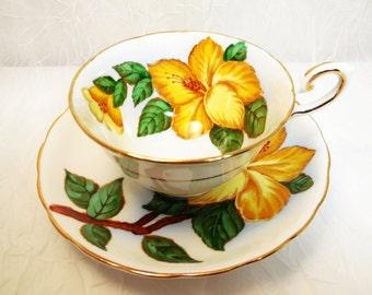 Tuscan Hawaiian Flowers Cup & Saucer, Yellow Hibiscus, Fine Bone China Tea Cup