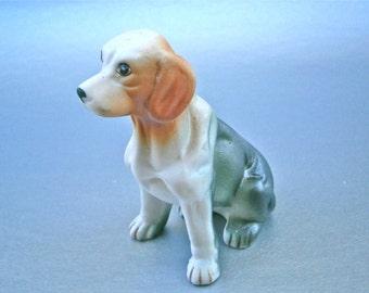 Vintage Labrador Figurine Retriever Dog Pet Statue Caramel Ears Dark Olive Green Unglaze Pottery Ceramic Clay Adorable Man Best Friend Paint