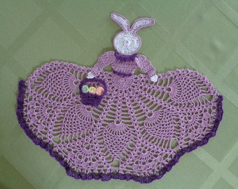 Crocheted Lady Easter Bunny Doily in Violet