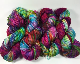Light Worsted, DK, Superwash Merino, Hand Dyed Yarn, Knockout, double knitting, spring colors, multi colored