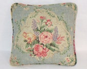 """Small Blue Floral Pillow Chambray 14"""" Square Cotton Pink Spring Bouquet Insert Included Ready Ship"""