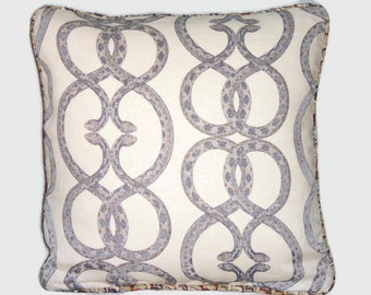 Snake Print Pillow Robert Allen Snake Chain Linen Desert Colors Reversible 17 Square Welted Insert Included Ready Ship