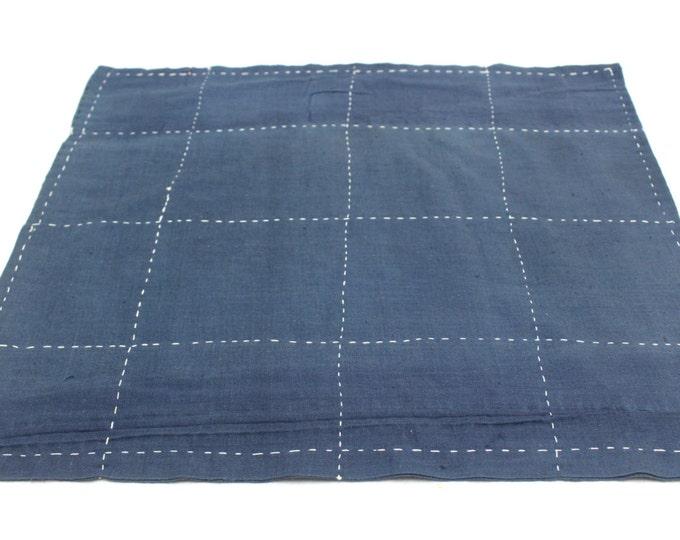 Japanese Zoukin Cloth. Antique Handmade Floor Cloth. Layered Indigo Cotton Sashiko Textile. Place Mat. (Ref: 1434)