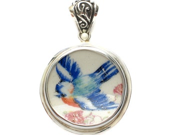 Broken China Jewelry Vintage Blue Bird w Pink Flowers B Circle Sterling Pendant