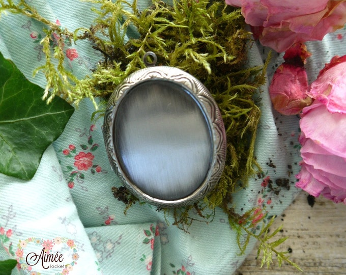 oval antique silver photo locket, floral brass locket, victorian locket, vintage locket, wedding locket, quote locket