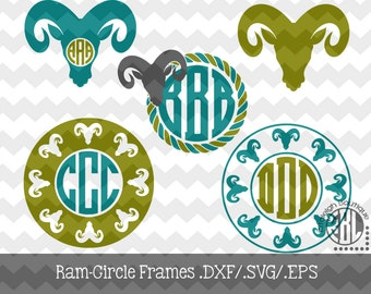 Ram Monogram Frames .DXF/.SVG/.EPS Files for use with your Silhouette Studio Software