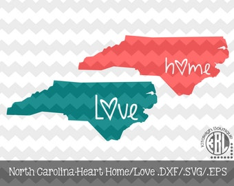 North Carolina Heart Home/Love design pack- .DXF/.SVG/.EPS File for use with your Silhouette Studio Software