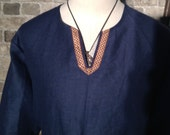 Historical Viking, Medieval linen tunic with Celtic knot trim - all sizes - ships today!