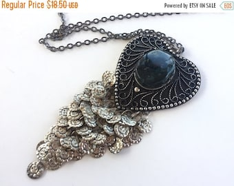 MOVING SALE Half Off Beautiful Vintage Large Tribal Cannetille  Silver Heart Pendant with Black Glass Stone