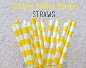 Yellow Sailor Stripe Paper Straws - Set of 25 Striped Drinking Straws - Final Clearance Sale