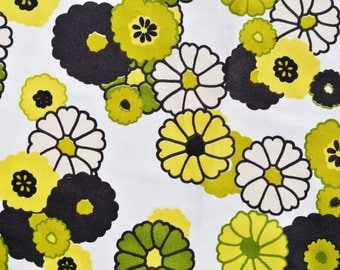 Vintage 1980s fabric in highquality unused cotton/ synthetic with large printed lime green black yellow flower pattern on white bottomcolor