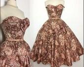 Vintage 1950s Dress//50s Strapless Dress//Floral// Sequins//Full Circle Dress//New Look//Mod