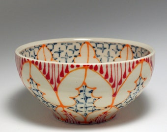 Small Wheel Thrown Handmade Ceramic Bowl with Orange, Red and Navy Pattern