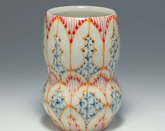 Handmade Wheel Thrown Ceramic Vase with Orange, Red and Navy Pattern
