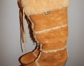 Vintage 70s 80s Sheepskin Boots Tall Wedge Sole Tie Top Size 6.5 7 Sbicca Brand Authentic Boho Hippie Gypsy