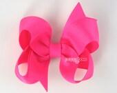 Hair Bow Princess Pink - girls hair bows - toddler hair bows - baby hair bows - little girl hairbows - 3 inch bows - girls clips barrette