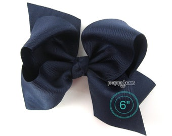 "Extra Large Hair Bow, Navy Blue Hair Bow, 6"" 6 inch hair bows, big bow, giant bow, extra large bow, jumbo hair bows, hair bows for girls xl"