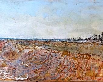 Original Encaustic art Beeswax Painting - California Beach - 12x36 panoramic wax art by L. Merriman - St. Louis Wax Works