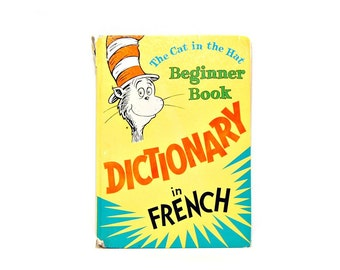 1967 Cat In The Hat French Dictionary PD Eastman 60s Vintage Dr Seuss Books Teach Kids French Read Aloud Book Childrens Dictionary
