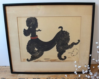 Mid century black poodle gouache painting - framed - vintage dog art - original painting - stylize prancing poodle