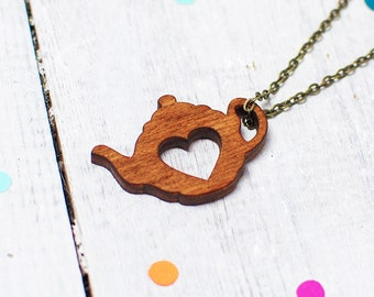 Teapot Necklace | Tea Lover | Tea Jewellery | Wooden Necklace