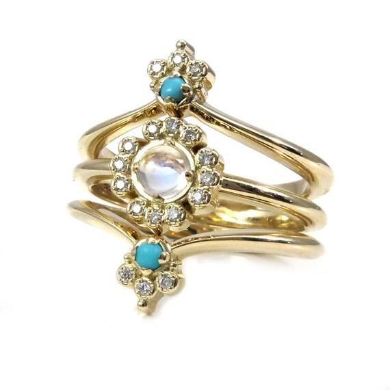 Art Deco Boho Engagement Ring Set With By SwankMetalsmithing
