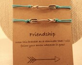 Arrow Friendship Bracelets: Set of Two Arrow Friendship Bracelets, Wish Bracelets, Adjustable, Colour Choice, Follow Your Arrow, Best Friend