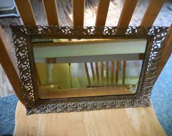 Vintage 1950s to 1960s Gold Tone Rectangle Vanity Tray New Mirror Retro Hangable Bedroom Footed Filigree Metal