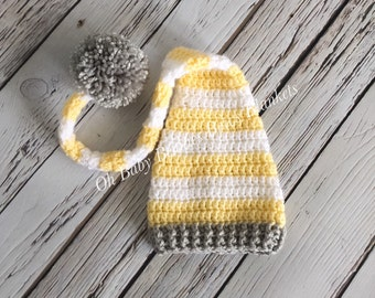 Elf Hat with Long Tail in Light Yellow, White & Gray - Newborn Baby, Photo Prop, Infant, Baby Shower Gift