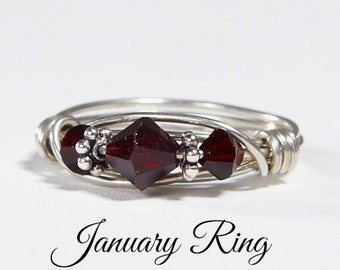 January Birthstone Ring: Handmade Sterling Silver Garnet January Birthstone Ring made with Swarovski Crystals. Birthday gift for her.