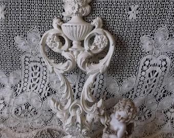 Shabby white, Ornate, French Country key holder,  painted vintage,  One Key ring  holder