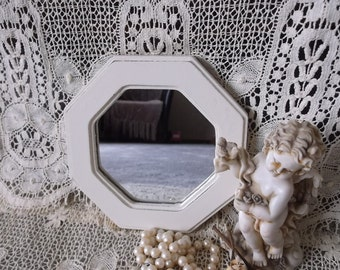 Octagon  Shabby French Cottage Mirror, creamy white, distressed, painted vintage
