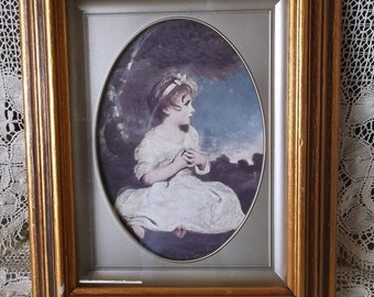 Vintage framed Print, Age of Innocense, Little girl, Time worn, tattered, French country