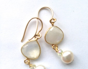 Moonstone  White Pearl Gold fill Earrings, Lilyb44, Etsy jewelry,