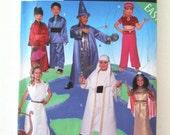 Childrens Costume Pattern Simplicity 8303 Boys Girls Wizard Egyptian Toga Sheik Japan Kimono Genie Halloween Costume Size S-M-L 3-8 UNCUT