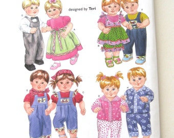 2000s Baby Doll Clothes Wardrobe Pattern, Simplicity 4268, Boy and Girl Doll Clothes for 15 inch Baby Dolls, Sewing Pattern, UNCUT