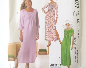2000s Dress Pattern McCalls 4077 Womens Casual Summer Maxi Dress Sewing Pattern Bodice Tucks Scoop Neck Misses Size 12-18 Bust 34-40 UNCUT