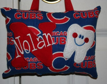 Chicago Cubs Tooth Fairy Pillow Boys Personalized Baseball Tooth Chart Monogram