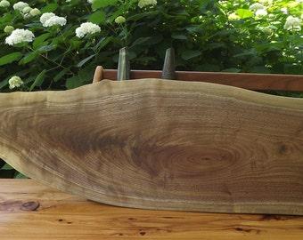 large cutting board/ live edge/ black walnut / centerpiece /wood/ natural edge/ serving food board