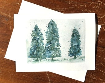 Christmas Cards, Snowy Spruce Tree Prints, Holiday Greeting Card Set