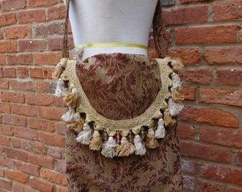 Upholstery Bag,Boho Bag,Hippie Bag,Cottage Chic Bag,Shabby Chic Purse,Nine Muses Of Crete