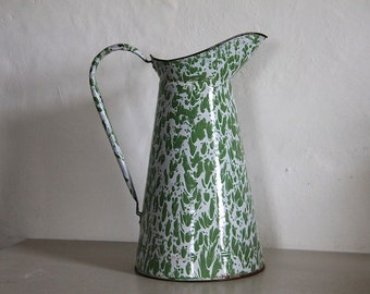 Antique French Enamel Pitcher,  Green