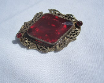 Victorian Brass Brooch with Large Red Glass Stone