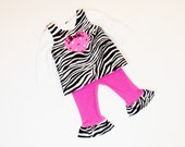 Girls RUFFLE PANTS OUTFIT Size 3 months to 5 Hot Pink and Zebra 3mo 6mo 9mo 12mo 18mo 24mo 2T 3T 4 5