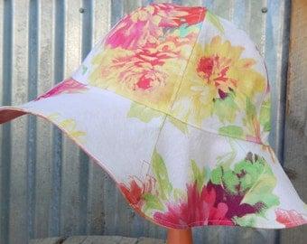 Toddler Girl Sun Hat, 3 Yr + Girl Sun Hat, White and Salmon Reversible Sun Hat